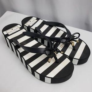 Kate Spade Black White Stripe Platform Sandals
